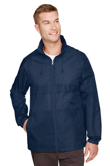 Team 365 TT73 Mens Zone Protect Water Resistant Full Zip Hooded Jacket Navy Blue Front