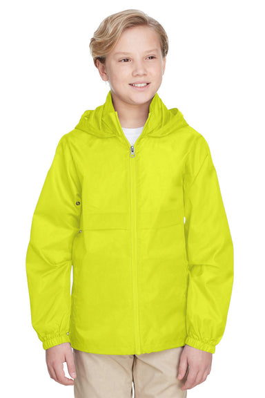 Team 365 TT73Y Youth Zone Protect Water Resistant Full Zip Hooded Jacket Safety Yellow Front