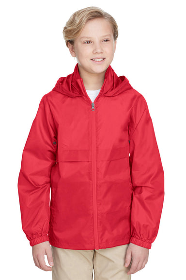 Team 365 TT73Y Youth Zone Protect Water Resistant Full Zip Hooded Jacket Red Front