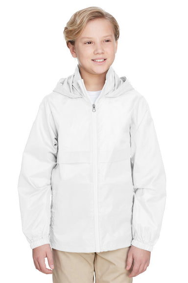 Team 365 TT73Y Youth Zone Protect Water Resistant Full Zip Hooded Jacket White Front
