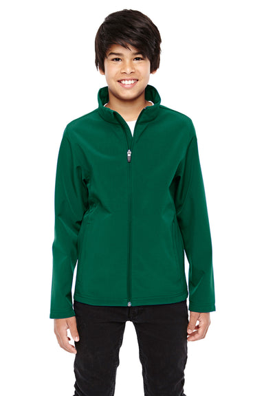 Team 365 TT80Y Youth Leader Waterproof Full Zip Jacket Forest Green Front