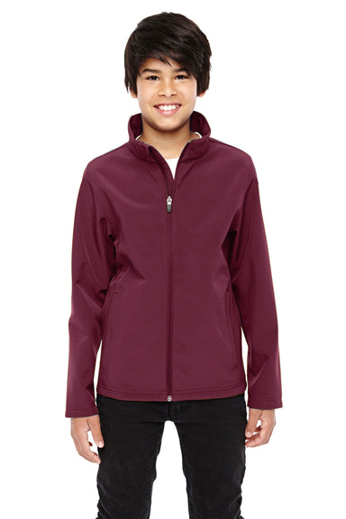 Team 365 TT80Y Youth Leader Waterproof Full Zip Jacket Maroon Front