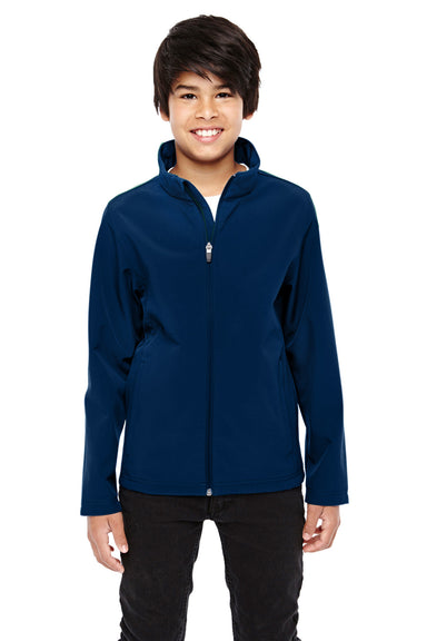 Team 365 TT80Y Youth Leader Waterproof Full Zip Jacket Navy Blue Front