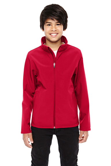 Team 365 TT80Y Youth Leader Waterproof Full Zip Jacket Red Front