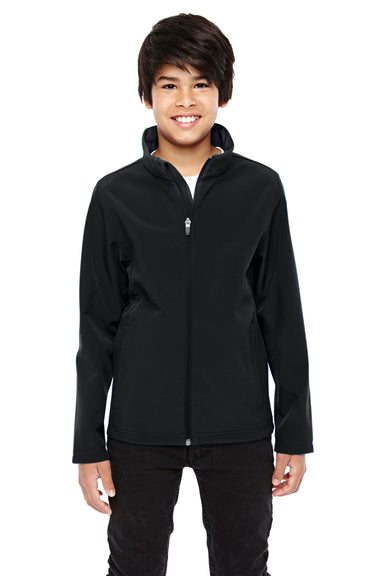 Team 365 TT80Y Youth Leader Waterproof Full Zip Jacket Black Front