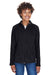 Team 365 TT90W Womens Campus Full Zip Microfleece Jacket Black Front