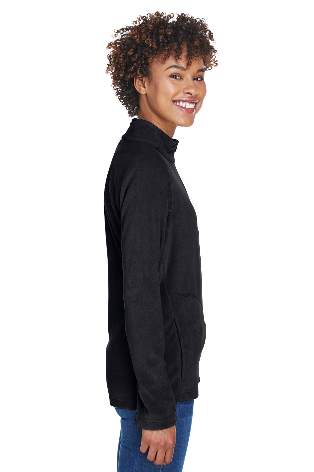 Team 365 TT90W Womens Campus Full Zip Microfleece Jacket Black Side