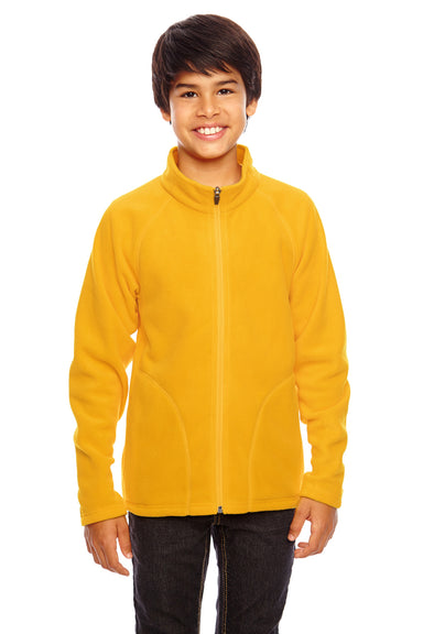Team 365 TT90Y Youth Campus Full Zip Microfleece Jacket Gold Front