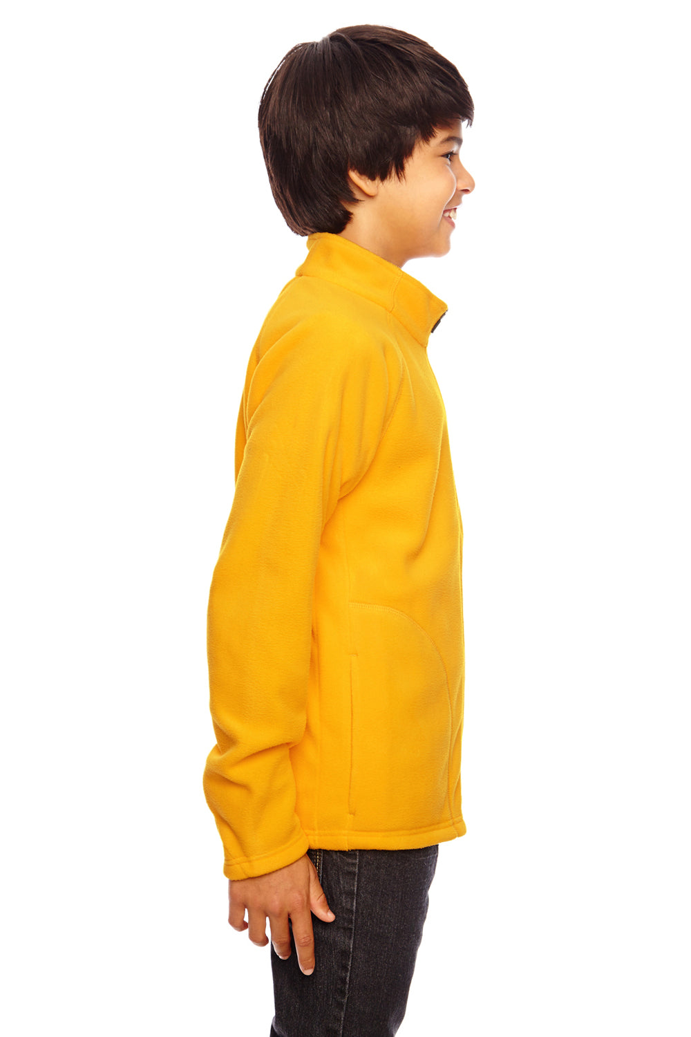 Team 365 TT90Y Youth Campus Full Zip Microfleece Jacket Gold Side