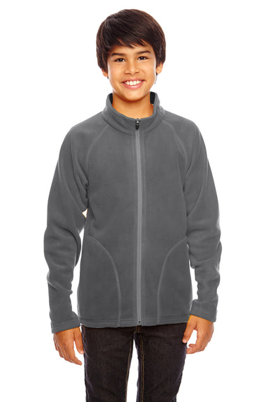 Team 365 TT90Y Youth Campus Full Zip Microfleece Jacket Graphite Grey Front
