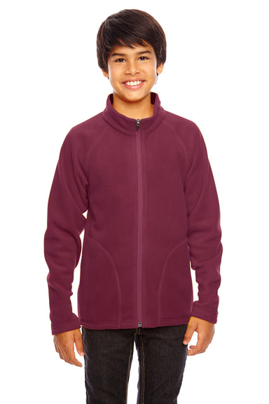 Team 365 TT90Y Youth Campus Full Zip Microfleece Jacket Maroon Front