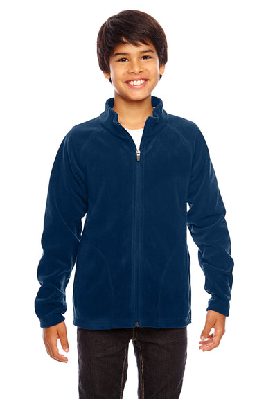 Team 365 TT90Y Youth Campus Full Zip Microfleece Jacket Navy Blue Front