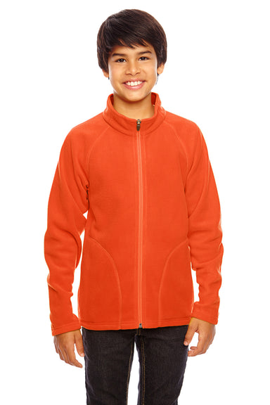 Team 365 TT90Y Youth Campus Full Zip Microfleece Jacket Orange Front