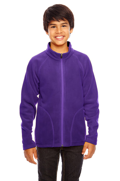Team 365 TT90Y Youth Campus Full Zip Microfleece Jacket Purple Front