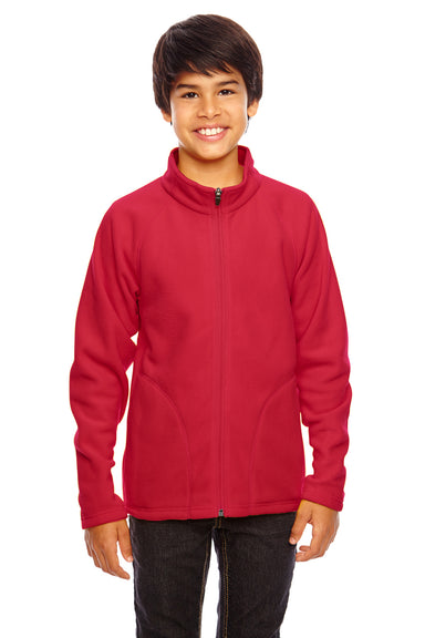 Team 365 TT90Y Youth Campus Full Zip Microfleece Jacket Red Front