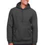 Team 365 Mens Zone HydroSport Fleece Water Resistant Hooded Sweatshirt Hoodie - Heather Dark Grey