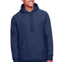 Team 365 Mens Zone HydroSport Fleece Water Resistant Hooded Sweatshirt Hoodie - Dark Navy Blue
