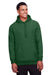 Team 365 TT96 Mens Zone HydroSport Fleece Water Resistant Hooded Sweatshirt Hoodie Dark Green Front
