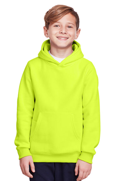 Team 365 TT96Y Youth Zone HydroSport Fleece Water Resistant Hooded Sweatshirt Hoodie Safety Yellow Front