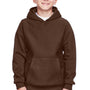 Team 365 Youth Zone HydroSport Fleece Water Resistant Hooded Sweatshirt Hoodie - Dark Brown
