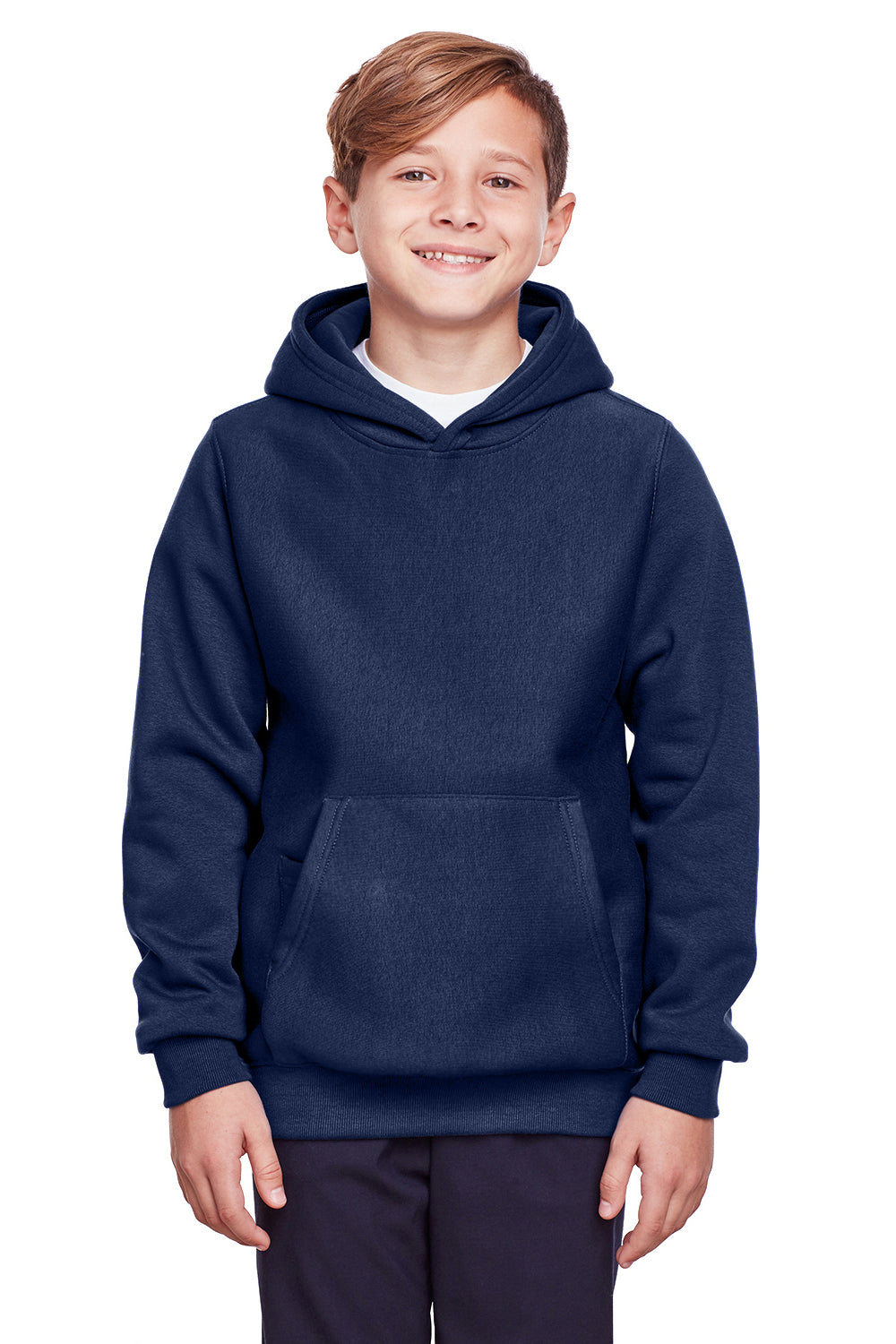 Team 365 TT96Y Youth Zone HydroSport Fleece Water Resistant Hooded Sweatshirt Hoodie Navy Blue Front