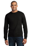 Port & Company USA100LS Mens USA Made Long Sleeve Crewneck T-Shirt Black Front