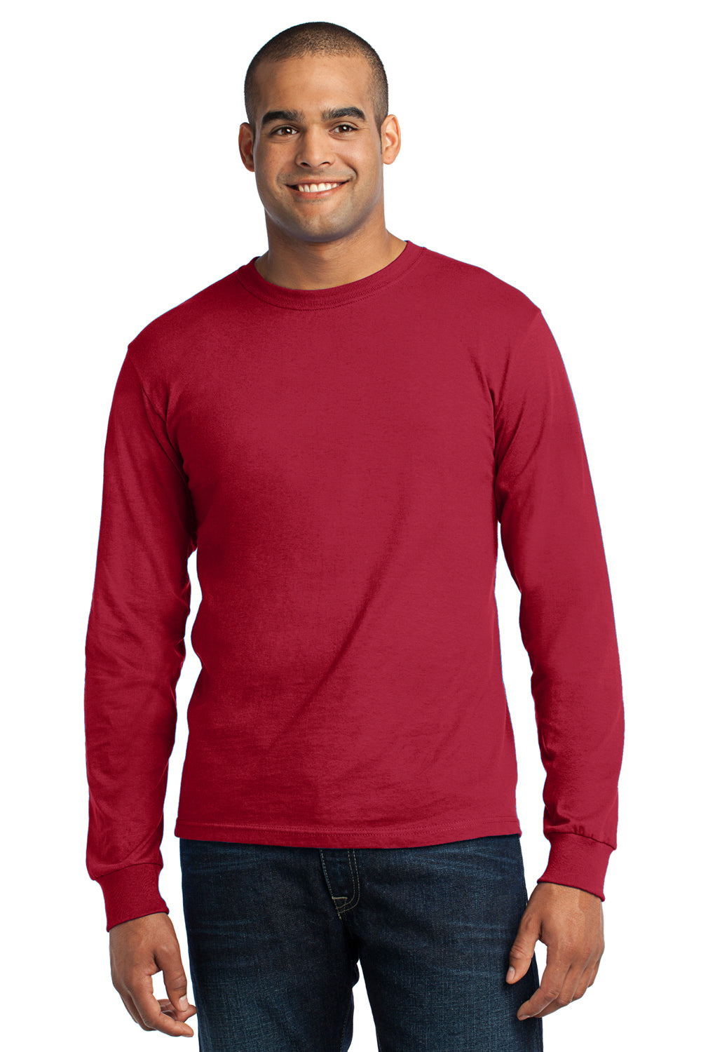 Port & Company USA100LS Mens USA Made Long Sleeve Crewneck T-Shirt Red Front