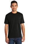 Port & Company USA100P Mens USA Made Short Sleeve Crewneck T-Shirt w/ Pocket Black Front