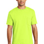 Port & Company Mens USA Made Short Sleeve Crewneck T-Shirt w/ Pocket - Safety Green