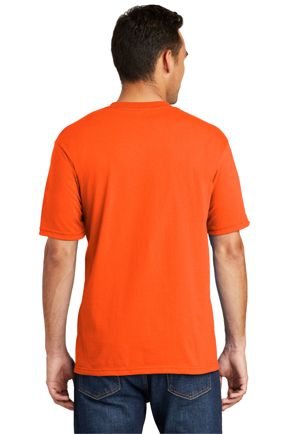 Port & Company USA100P Mens USA Made Short Sleeve Crewneck T-Shirt w/ Pocket Safety Orange Back