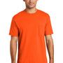 Port & Company Mens USA Made Short Sleeve Crewneck T-Shirt w/ Pocket - Safety Orange
