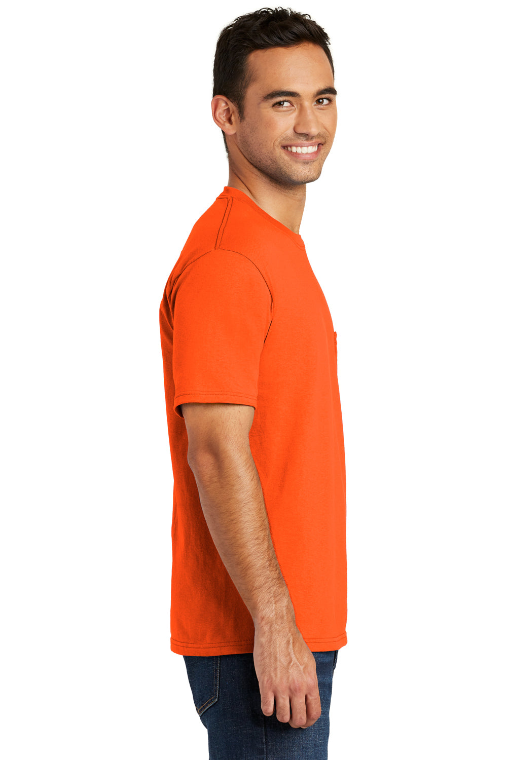 Port & Company USA100P Mens USA Made Short Sleeve Crewneck T-Shirt w/ Pocket Safety Orange Side