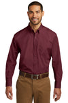 Port Authority W100 Mens Carefree Stain Resistant Long Sleeve Button Down Shirt w/ Pocket Burgundy Front