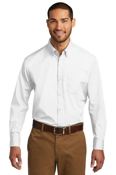 Port Authority W100 Mens Carefree Stain Resistant Long Sleeve Button Down Shirt w/ Pocket White Front