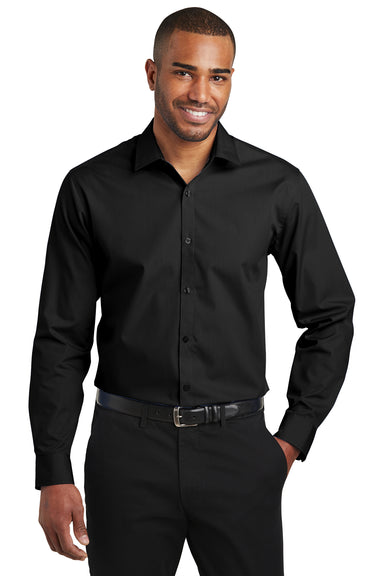 Port Authority W103 Mens Carefree Stain Resistant Long Sleeve Button Down Shirt Black Front