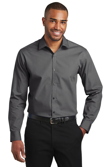 Port Authority W103 Mens Carefree Stain Resistant Long Sleeve Button Down Shirt Graphite Grey Front
