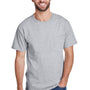 Hanes Mens Workwear Short Sleeve Crewneck T-Shirt w/ Pocket - Light Steel Grey