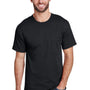 Hanes Mens Workwear Short Sleeve Crewneck T-Shirt w/ Pocket - Black