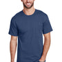 Hanes Mens Workwear Short Sleeve Crewneck T-Shirt w/ Pocket - Navy Blue