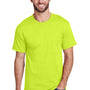 Hanes Mens Workwear Short Sleeve Crewneck T-Shirt w/ Pocket - Safety Green