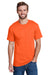 Hanes W110 Mens Workwear Short Sleeve Crewneck T-Shirt w/ Pocket Safety Orange Front
