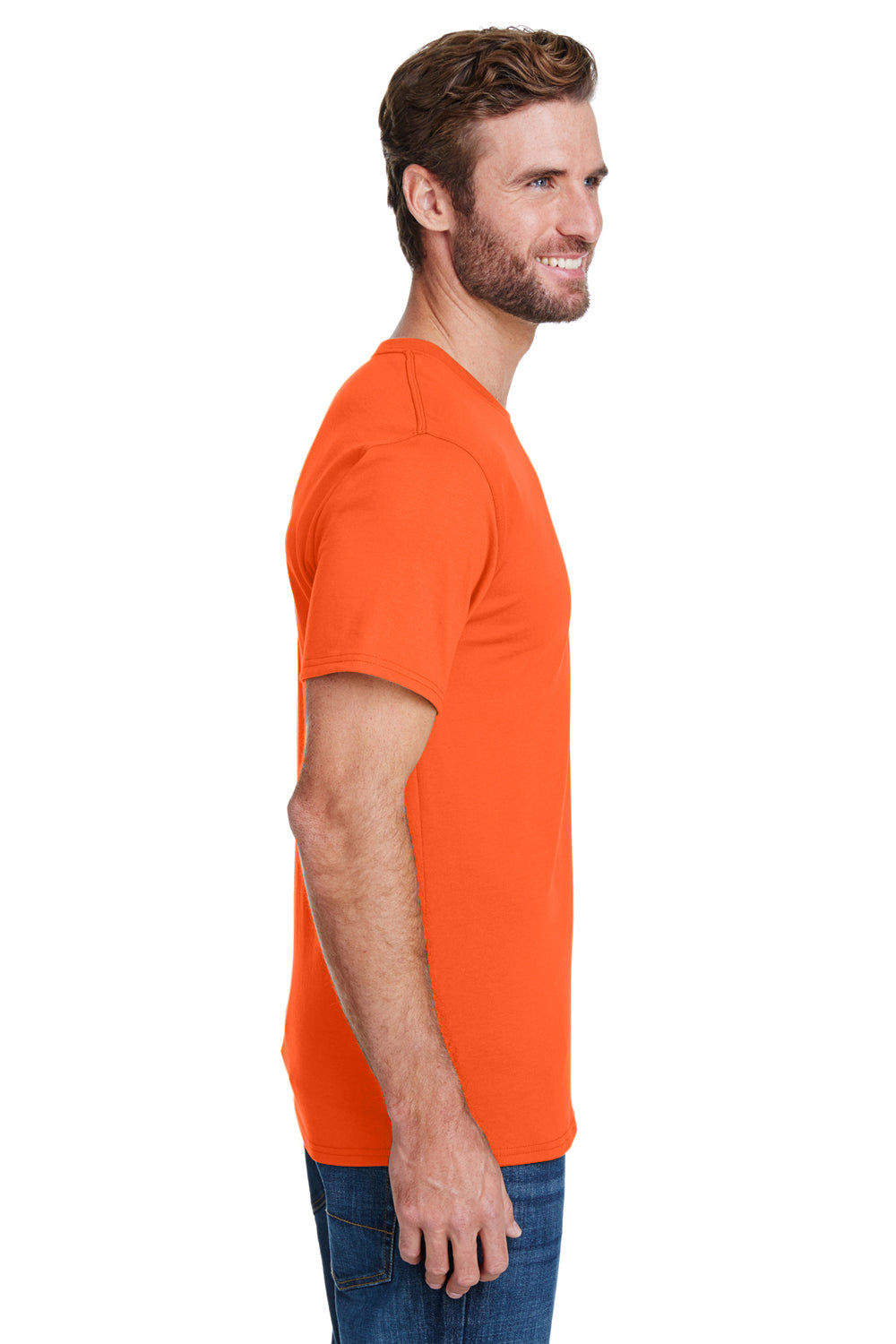 Hanes W110 Mens Workwear Short Sleeve Crewneck T-Shirt w/ Pocket Safety Orange Side