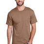 Hanes Mens Workwear Short Sleeve Crewneck T-Shirt w/ Pocket - Army Brown