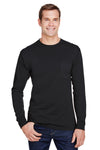 Hanes W120 Mens Workwear Long Sleeve Crewneck T-Shirt w/ Pocket Black Front