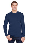 Hanes W120 Mens Workwear Long Sleeve Crewneck T-Shirt w/ Pocket Navy Blue Front