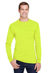 Hanes W120 Mens Workwear Long Sleeve Crewneck T-Shirt w/ Pocket Safety Green Front