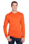 Hanes W120 Mens Workwear Long Sleeve Crewneck T-Shirt w/ Pocket Safety Orange Front