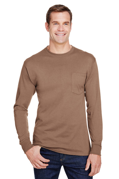 Hanes W120 Mens Workwear Long Sleeve Crewneck T-Shirt w/ Pocket Army Brown Front