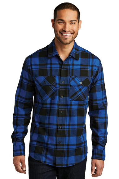 Port Authority W668 Mens Flannel Long Sleeve Button Down Shirt w/ Double Pockets Royal Blue/Black Front