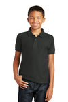 Port Authority Y100 Youth Core Classic Short Sleeve Polo Shirt Black Front